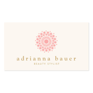 Simple Elegant Pink Mandala Motif Logo Pack Of Standard Business Cards