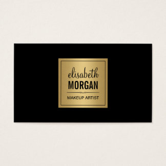 Simple Elegant Pure Black and Brushed Gold Design Business Card