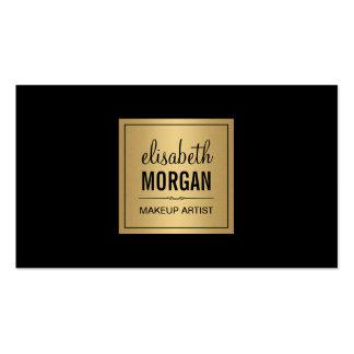 Simple Elegant Pure Black and Brushed Gold Design Pack Of Standard Business Cards