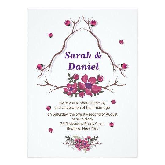 Simple elegant purple floral petals Wedding Card
