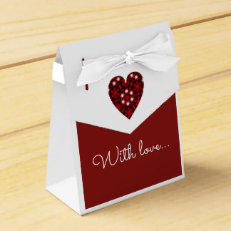 Simple elegant red and white heart with love favour box