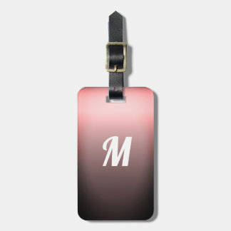 Simple Elegant Red Sangria Ombre Monogram Luggage Tag