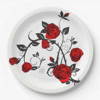 Simple Elegant Rose & Vine Detail Paper Plate