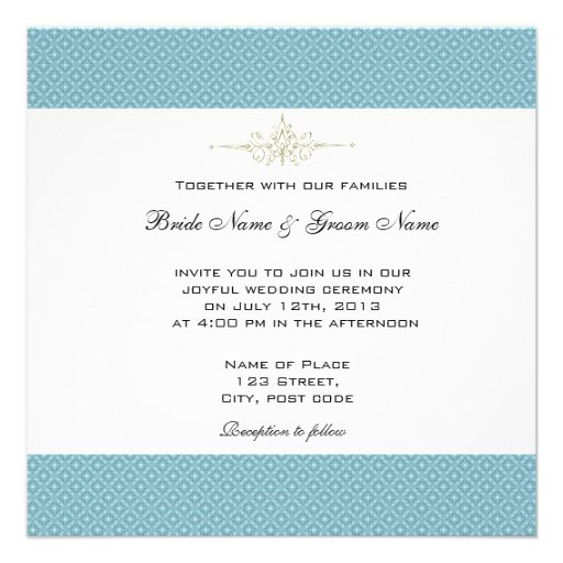 Simple, Elegant Royal Blue Wedding Invitations 13 Cm X 13