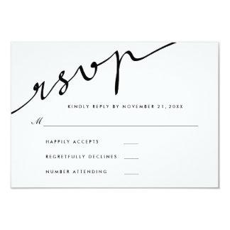 Simple Elegant RSVP Calligraphy Script Wedding Card