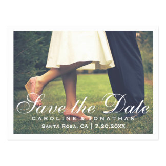 Simple Elegant Script Save the Date Photo Postcard