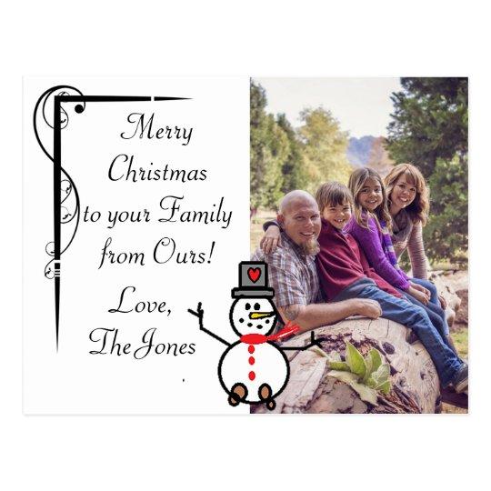 Simple Elegant Snowman Family Photo Christmas Card