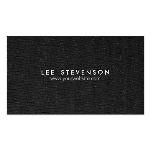 Simple Elegant  Speckled Black Canvas Look Business Card Template