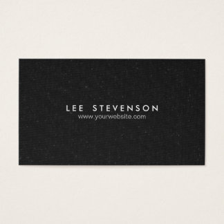 Simple Elegant  Speckled Black Canvas Look Business Card