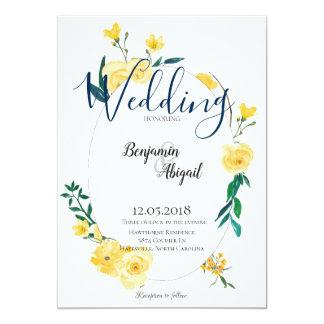 Simple Elegant Spring Yellow Flowers Wedding Card