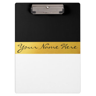 Simple Elegant Stylish White Black & Gold Stripes Clipboard