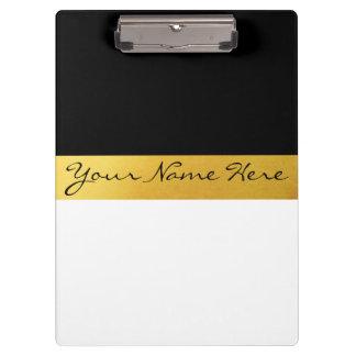 Simple Elegant Stylish White Black & Gold Stripes Clipboard