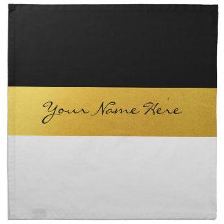 Simple Elegant Stylish White Black & Gold Stripes Napkin
