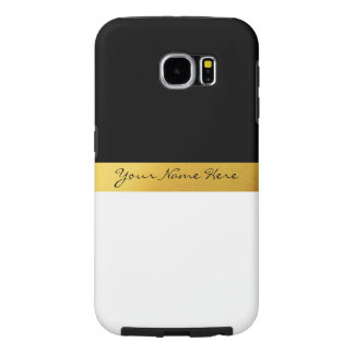 Simple Elegant Stylish White Black & Gold Stripes Samsung Galaxy S6 Cases