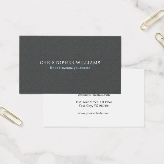Simple Elegant Texture Grey Blue Consultant Business Card