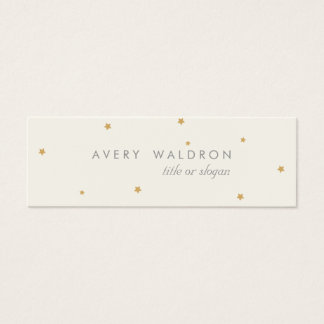Simple Elegant Tiny Gold Stars Cream White Mini Business Card