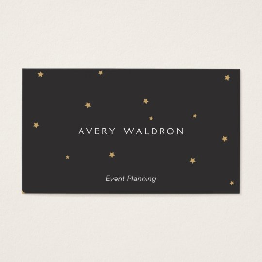 Simple Elegant Tiny Gold Stars Event Planner Black