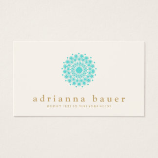 Simple Elegant Turquoise Blue Mandala Business Card