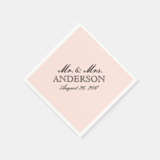 Simple Elegant Typography Blush Wedding Napkin Disposable Napkins