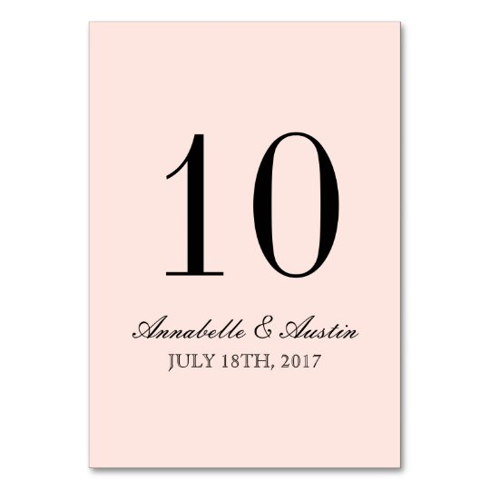 Simple Elegant Typography Blush Wedding Table Card