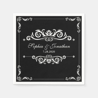 SImple Elegant Vintage Chic Black & White Wedding Paper Napkins