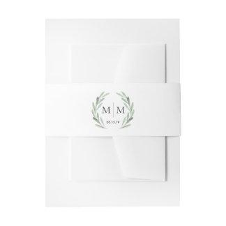 Simple Elegant Watercolor Wreath Greenery Wedding Invitation Belly Band