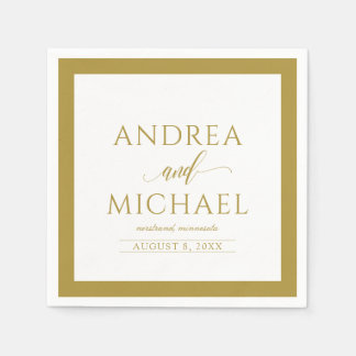 Simple & Elegant Wedding Cocktail Napkins (Gold) Disposable Serviette