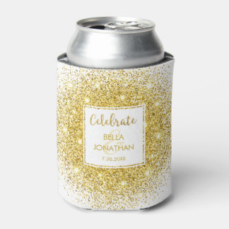 Simple Elegant Wedding Gold Glam Glitter Custom Can Cooler