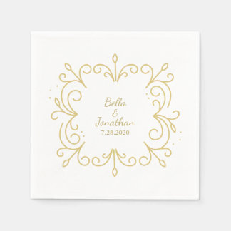 Simple Elegant Wedding Gold & White Custom Paper Serviettes