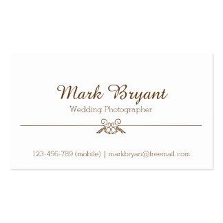 Simple, Elegant, Wedding Photographer Pack Of Standard Business Cards