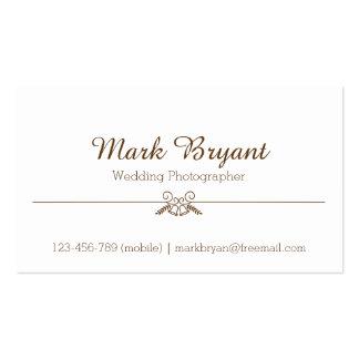Simple, Elegant, Wedding Photographer Pack Of Standard Business Cards