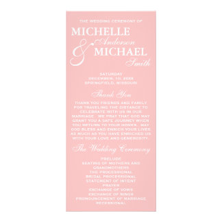 Simple Elegant Wedding Program Full Color Rack Card