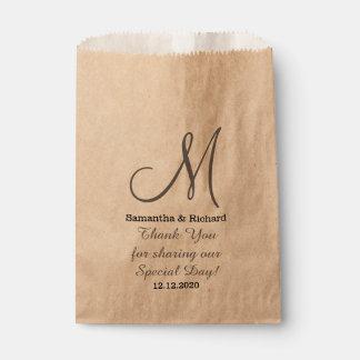 Simple Elegant Wedding Thank you Monogrammed Favour Bags