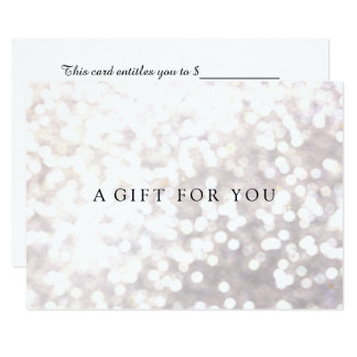 Simple Elegant White Bokeh  Gift Certificate 9 Cm X 13 Cm Invitation Card