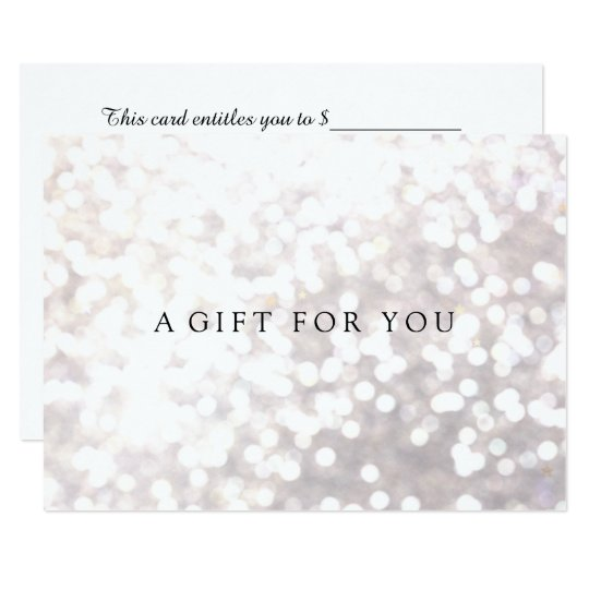 Simple Elegant White Bokeh Gift Certificate Card