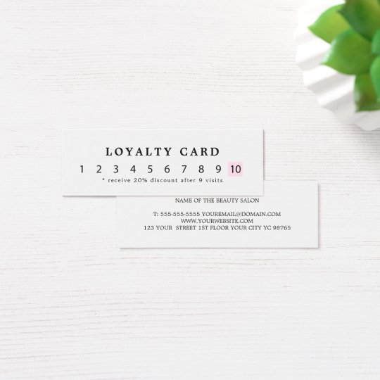 Simple Elegant White Rose Beauty Loyalty Mini Business