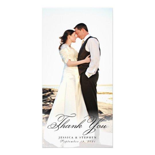Simple Elegant White Thank You 8x4 Photo Card