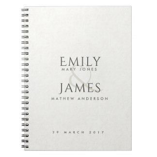 SIMPLE ELEGANT white TYPOGRAPHY TEXT ONLY WEDDING Notebooks