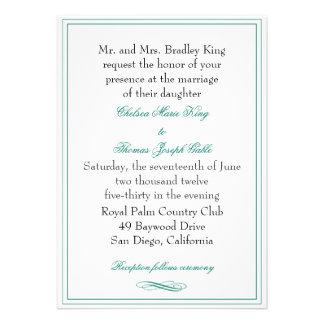 Simple Emerald Green Wedding Invitation