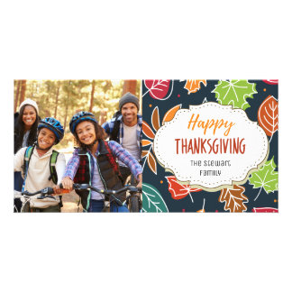 Simple Fall Leaves Thanksgiving Picture Photo Card