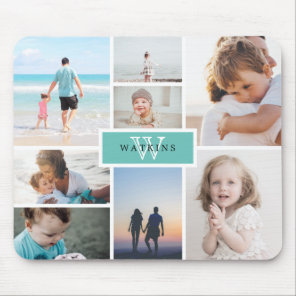 Simple Family Photo Collage & Monogram Mouse Mat