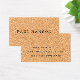 Simple Faux Cork Print Business Card
