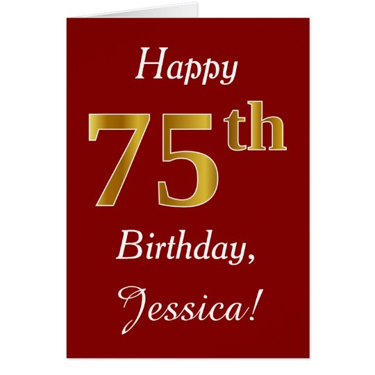 Simple Faux Gold 75th Birthday + Custom Name