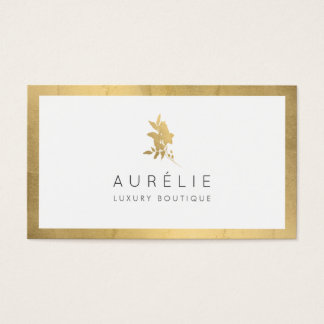 Simple Faux Gold Floral Luxury Boutique Business Card