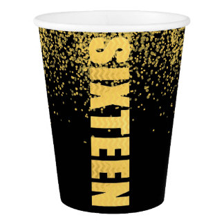 Simple Faux Gold Glitter Sweet 16 Paper Cups Black