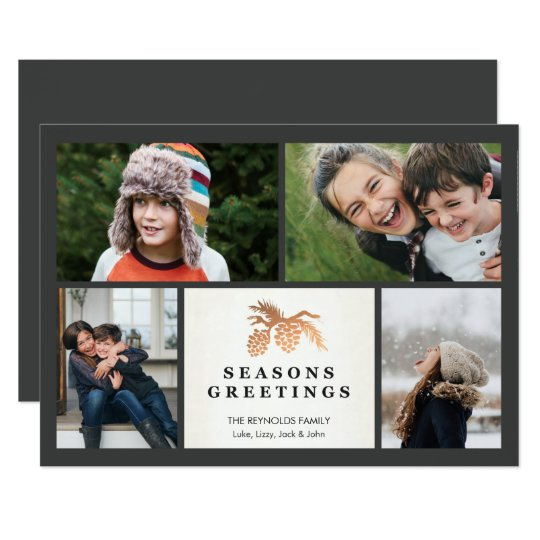 Simple Faux Rose Gold Pine Cone Holiday Photocard Card