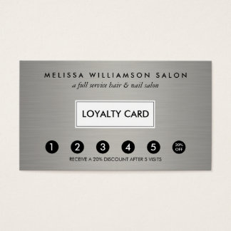 Simple Faux Silver Customer Loyalty Punch Card
