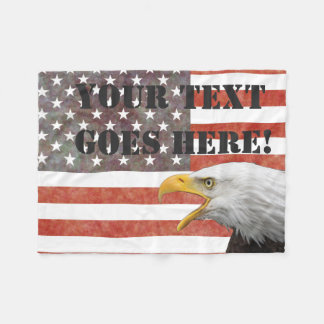 Simple Flag with Screaming Eagle and Your Text Fleece Blanket