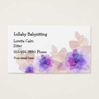 Simple Floral Babysitter Business Card