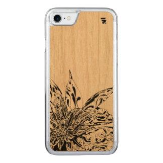 Simple Floral Design on wood back Carved iPhone 8/7 Case